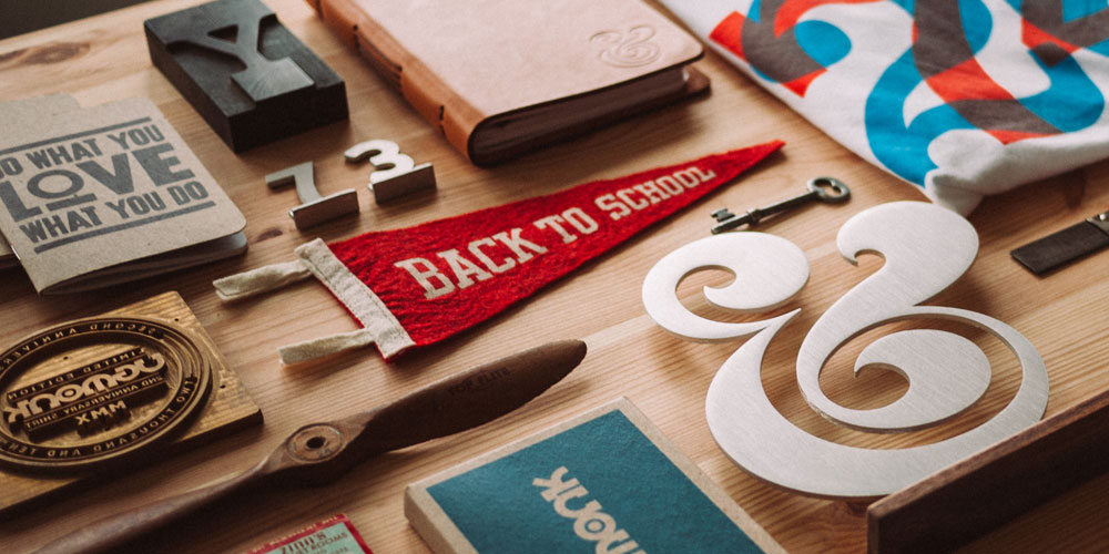 selection of printed and creative design pieces