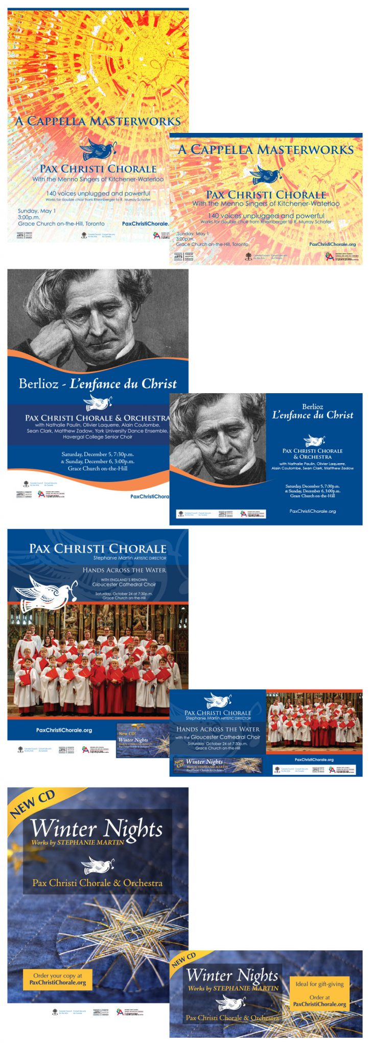 Selection of printed material for Pax Christi's concert series.