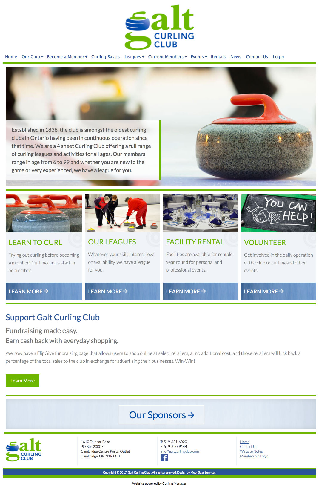 Screenshot of Galt Curling Club website