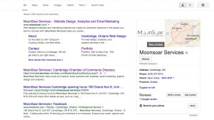 What Google's search results look like when a company has Google My Business set up