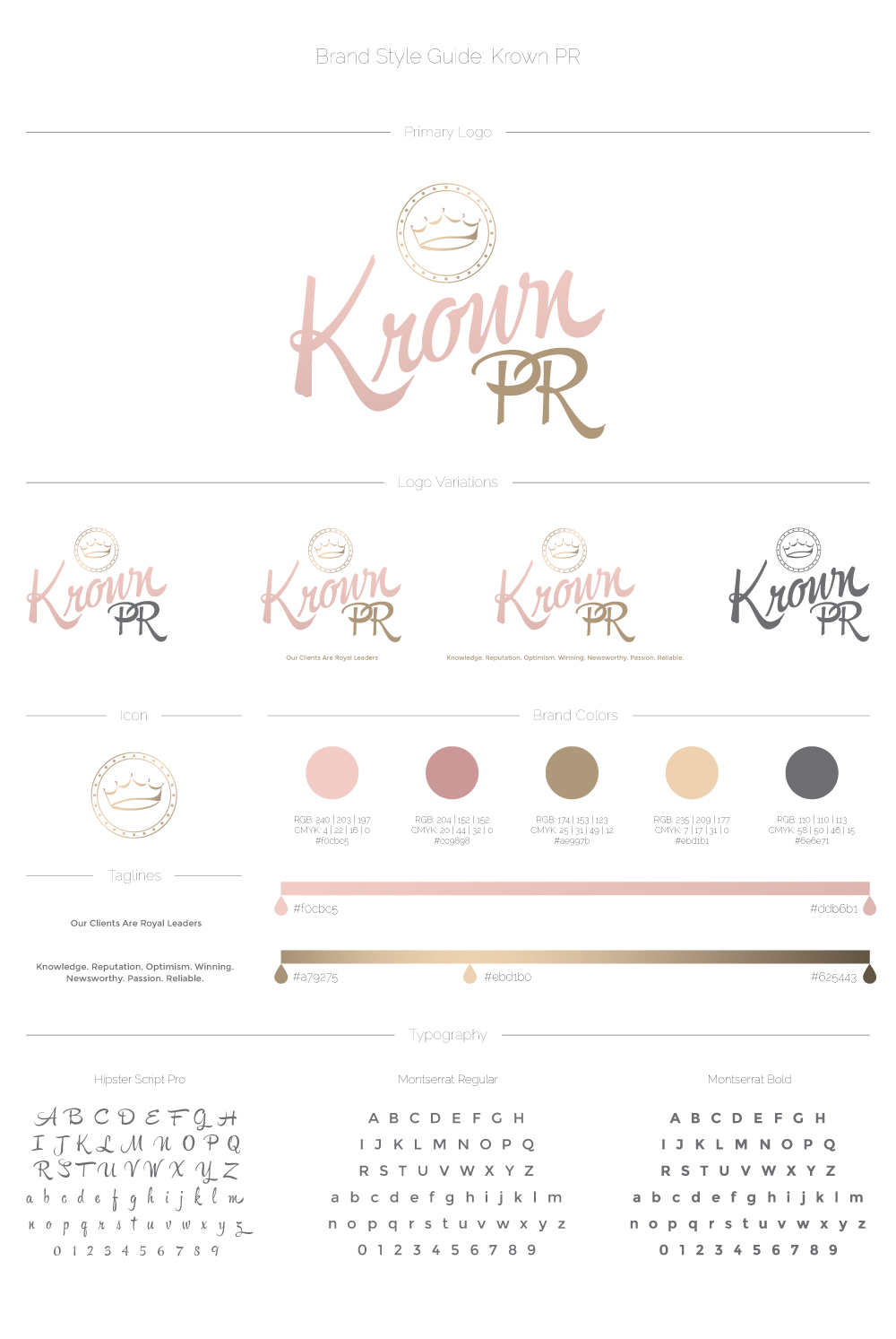 Krown PR style guide, including logo, logo variations, icon, colour selection and font selection