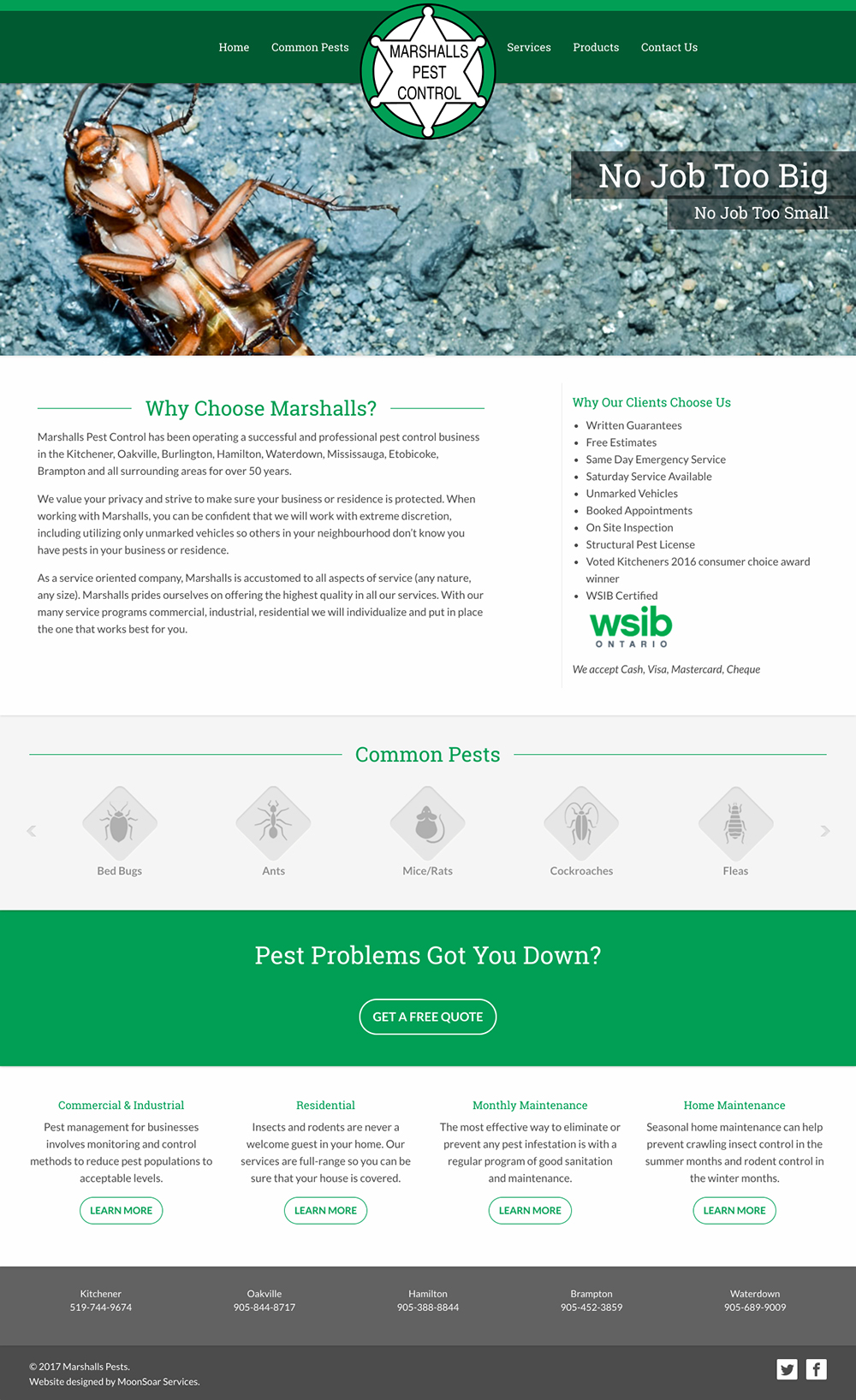 Website screenshot for Marshalls Pest Control